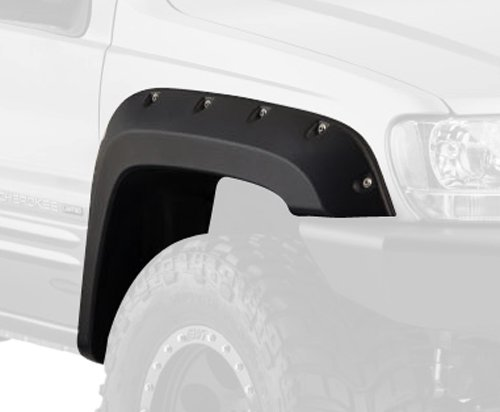 Bushwacker 10071-07 Black Jeep Cutout Style Textured Finish Front Fender Flares for 1999-2004 Jeep Grand Cherokee