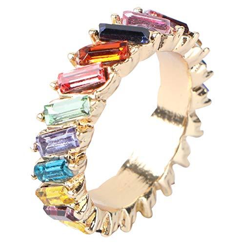 Holibanna Anillo de Boda de Cristal Anillo de Dedo de Piedras Preciosas Anillo de Banda de Gemas de Compromiso Anillo de Eternidad Cúbico de Diamantes de Imitación Regalo de Joyería para