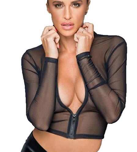 Noir Handmade Frauen Tüll Oberteil Top bauchfrei mit Reißverschluss Jacke transparent schwarz Langarm mit Kragen L
