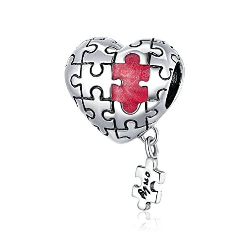 LIJIAN DIY 925 Sterling Jewelry Charm Beads Real Love Puzzles Esmalte De Metal Hacer Originales Pandora Collares Pulseras Y Tobilleras Regalos para Mujeres