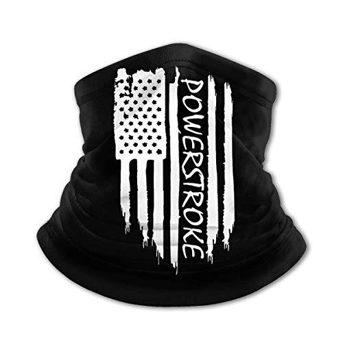 JIANYU Bufanda Multifuncional Bandera Americana Powerstroke Bufanda calentadora para Exteriores Bufanda Deportiva a Prueba de Viento y Polvo Negro