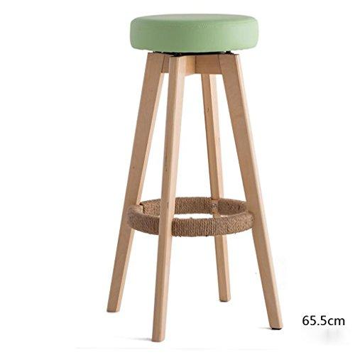 Rollsnownow Coussin vert clair en bois en bois haute chaise de bar 65cm Tabouret haut tabouret moderne chaise pivotante simplicité