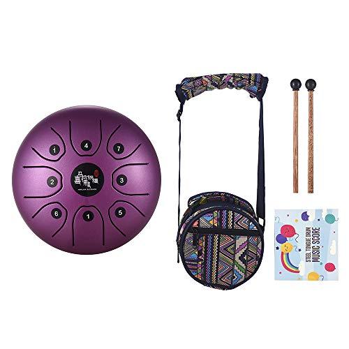 Muslady Tambor de lengua de acero de 5.5 pulgadas, mini 8 tonos con llave C para instrumentos de percusión, tambor de mano con mazos de tambor (morado) (Electrónica)