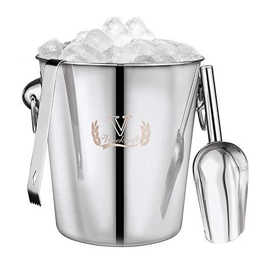 Vinekraft - Cubitera de acero inoxidable para bebidas con pinzas y cuchara de hielo, paquete de regalo de lujo, 3,8 litros