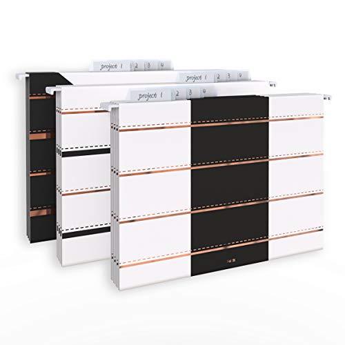 CharaVector Hanging File Folders-Letter Size-Design 1/5-Cut Adjustable Tabs Rose Gold Stripes12pcs Set-Assorted Practical Suitable for Office Home
