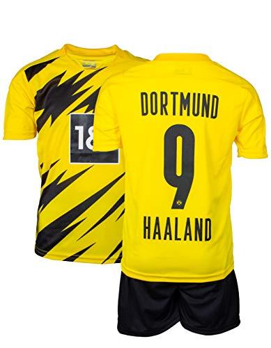 AMD SPORTS Dortmund Kinder Trikot Erling Haaland #9 (3-14 Jahre) (Gelb, 140)