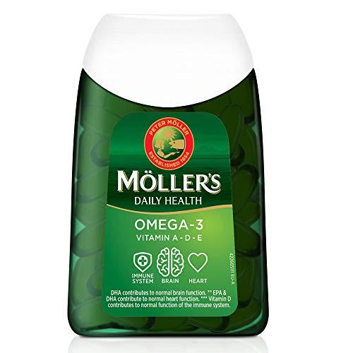 Moller's ® | Cápsulas de omega 3 | Aceite de pescado | Suplemento dietético nórdico con omega 3 y EPA, DHA, vitaminas A, D y E | Marca con 166 años de historia | Daily Health | 112 cápsulas
