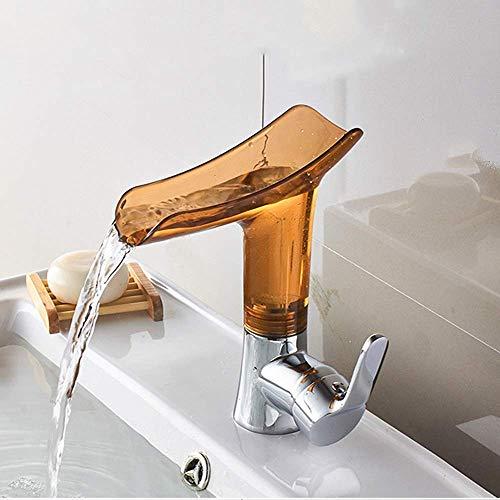 BXU-BG Cuarto de baño de agua caliente y fría grifo de lavabo lavabo lavabo de vidrio de vino cascada grifo marrón inoxidable