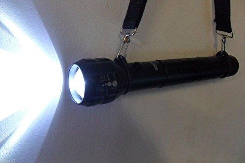 La Petite Caverne- Lampe Torche Police 32 cm Led Cree Q5 en Alu Puissante Boussole à Piles Offerte