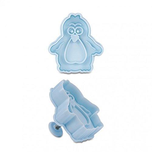 Präge-Ausstecher mit Auswerfer Pinguin ca. 6 cm Hellblau