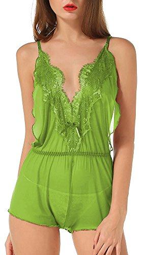 The victory of cupid Eyelash lace deep V-neck America back piece pajamas,Green,Small/Medium