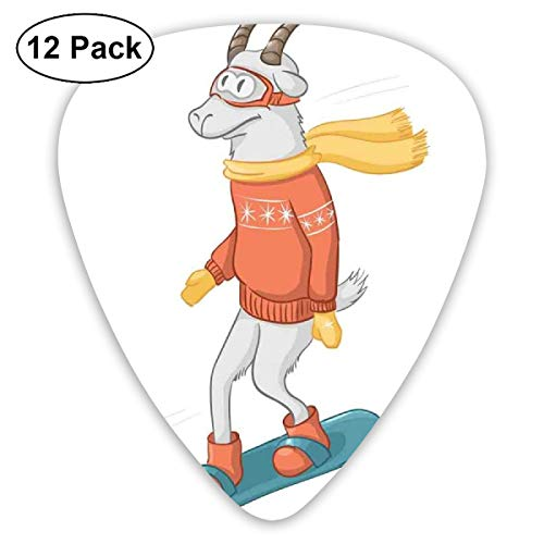Guitar Picks - Abstract Art Colorful Designs,Cartoon Goat Figure On A Snowboard Wearing Pullover Scarf And Goggles In Winter Season,Unique Guitar Gift,For Bass Electric & Acoustic Guitars-12 Pack