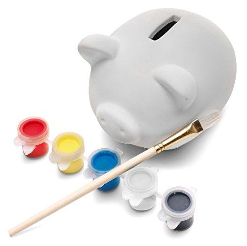 Sparschwein aus keramischen Gips zum Selbst Bemalen inkl. 6 Farben und Pinseln - Bastelspaß für die ganze Familie von noTrash2003