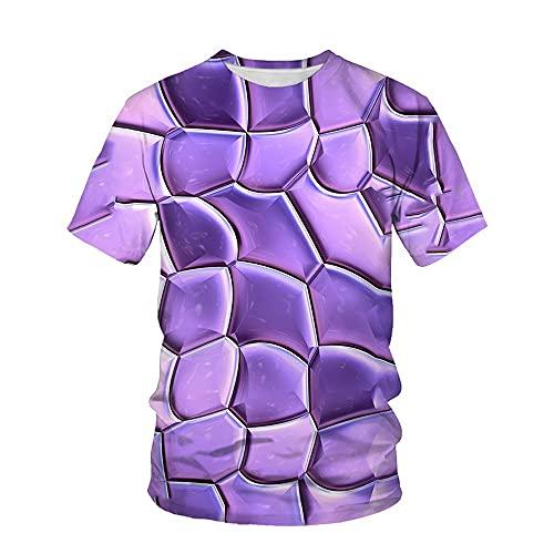 XIELH Camisetas Manga Corta Hombre Talla Grande Verano 3D Estampada De Camiseta De Cuello Redondo Hombre Camisas Casual T-Shirt-2_3XL_
