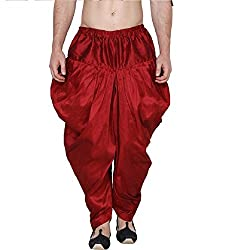 S2KCrafts Mens Harem Pant (Maroon, Free Size)