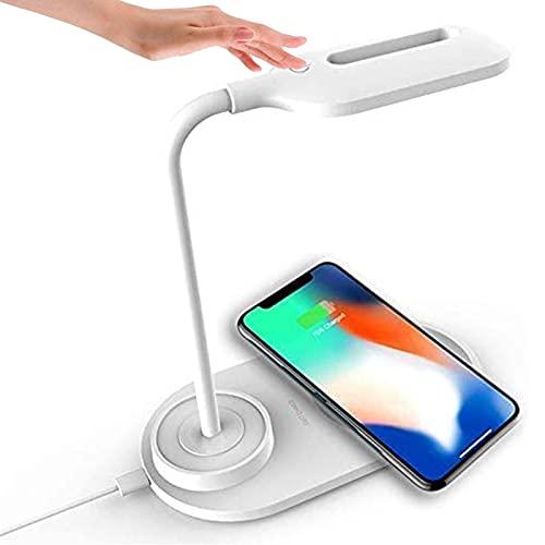 YNDD Lámpara Escritorio LED, Flexo de Escritorio Regulable con Cargador Inalámbrico, 3 Modos Conexión USB Lámpara de Mesa Toque Ajustable, Respetuosa con los ojos Lámpara de Mesa Niños (Blanco)