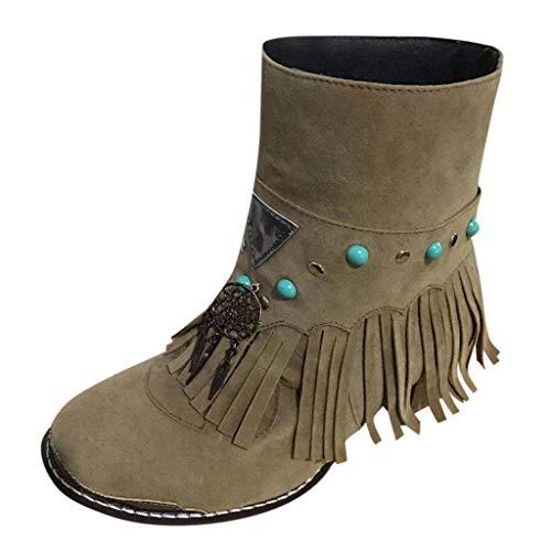 WUSIKY Stiefeletten Damen Bootsschuhe Boots Geschenk für Frauen Fashion lässig runde Kappe Rom Retro Fransen Peeling Stiefeletten Wohnungen Schuhe (Khaki, 39.5 EU)