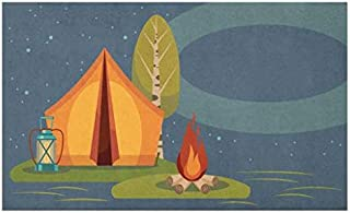 Lunarable Camping Doormat, Summer Outdoor Activity in The Forest Tent Campfire and Lantern Under Night Sky, Decorative Polyester Floor Mat with Non-Skid Backing, 30