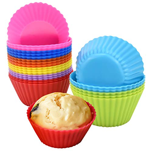 Jinlaili 24 Stück Cupcake-Formen, Wiederverwendbare Backförmchen aus Silikon,...