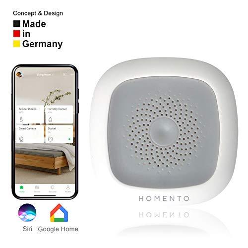 Homento WLAN Thermometer/Hygrometer (kabellos) nutzbar mit Smartphone – Thermometer App gesteuert, Smarter Temperatursensor und Feuchtigkeitssensor mit Alarmfunktion und Steuerung mit Alexa