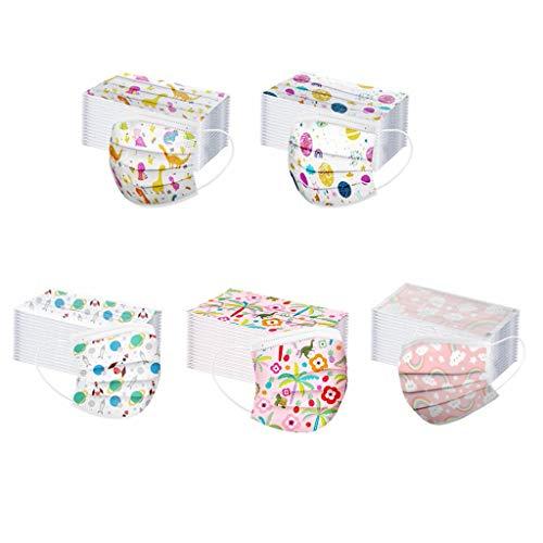 50 mascherine per bambini usa e getta, traspiranti, a tre strati, super confortevoli, con stampa a farfalle, fasce per bambine e ragazze; per bambine