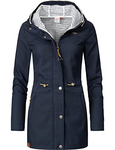 Ragwear Damen Übergangsjacke Kurz Mantel Halina Long Blau Gr. L