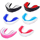 Mengdger Youth Sports Mouth Guard Football Kids Moldable Mouthguard Boxing Mouthpiece Teeth Protective Braces EVA Double Colored for MMA Taekwondo Rugby Lacrosse Flag Football (6 Pack)