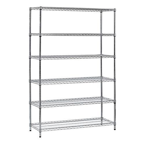 """Muscle Rack WS481872-Z  Steel Shelving Unit, 6 Shelf, 48"""" Width, 72"""" Height, 18"""" Depth, Zinc"""