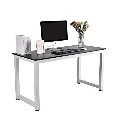Escritorio para ordenador, mesa pequeña para juegos, 140 x 60 x 75 cm, para oficina en casa, fácil montaje, metal y madera, diseño negro y blanco