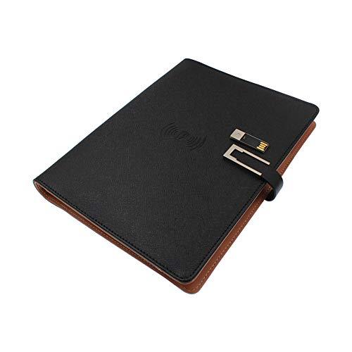 POWER BANKS Design A5 vergadermap Portfolio-zwart PU-leer ritssluiting bestand organisator en stand-Professional Business Portfolio Binder, met notitieblok