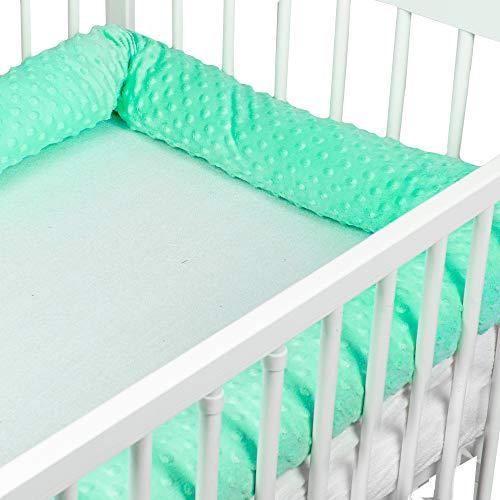 Bettschlange baby Nestchenschlange Bettrolle - Bettumrandung Babybettschlange Babybett umrandungen Babynestchen für Kinderbett (Türkis Minky, 300 cm)
