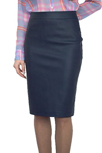 Stilvoller Damen Hohe Taille lässig Rock Bleistift Knielang Kunstleder Blau Inner Futter, Größe EU 36 38 40 42 44 46 48 50 (42)