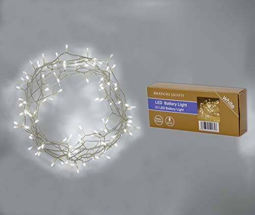 SHATCHI Indoor 20 LED Clear Day Battery Operated Powered Fairy String Lights Christmas Tree Wedding Birthday Garden Party Window Decorations, Cool White