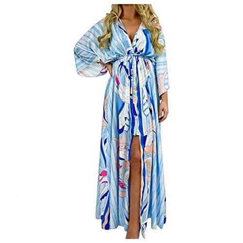 Vestido Largo Maxi para Mujer, Estampado Floral, Cuello En V, Manga De Campana, Vestido Informal Suelto para La Playa, Vestido De Verano con Cintura Imperio, Una Línea De Vestidos Oscilantes