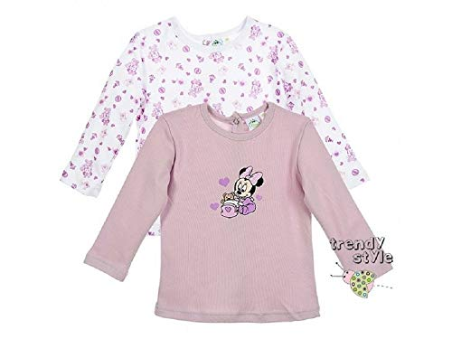Minnie Set de 2 t-Shirts Manches Courtes en Coton bébé Fille