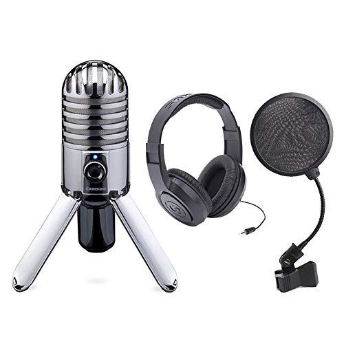 Samson Meteor Mic USB Studio Microphone Large Diaphragm, Built-in Monitoring + Samson Stereo Headphones + Pop Filter