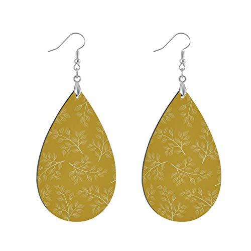 Fashion Teardrop Wooden Earrings Drop Dangle Earings White Branch And Leaves On Mustard Yellow Teardrop Earring Round Circle Earring For Women Girl (1Pair)