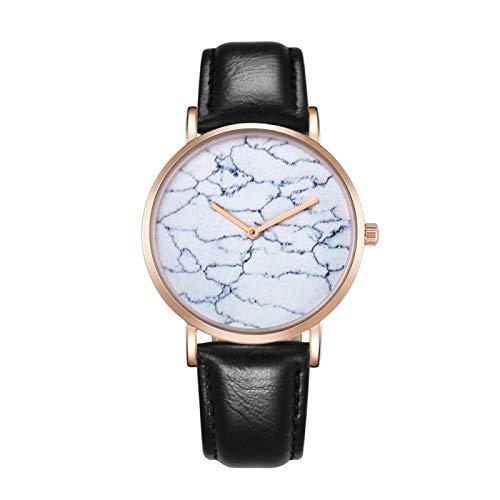 Strimm CAGARNY 6812 Reloj de cuarzo con esfera redonda de aleación de oro carcasa de moda para hombres con correa de piel sintética