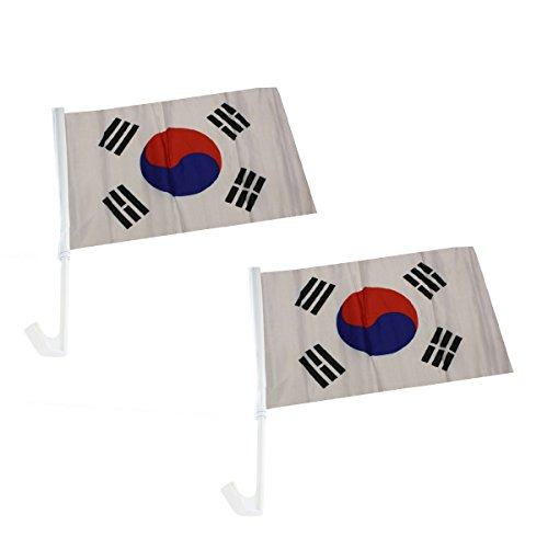 Sonia Originelli 2er Set Auto Flagge Fahne WM Länder Fußball Fan Farbe Südkorea