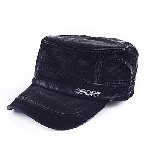 Casquette Homme Vintage Flat Top Men Caps Classic Retro Washed Cotton Military Hats Casual Women Army Cap Adjustable Snapback Dad Cap Hat-Black
