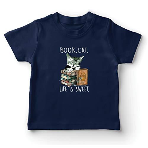 lepni.me Camiseta para Niño/Niña Libro Vida de Gato es Dulce Gatito Regalo del Amante para los lectores (9-11 Years Azul Oscuro Multicolor)