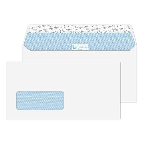 Premium Office 32214W - Paquete de sobres con cierre autoadhesivo (con ventanilla, 110 x 220 mm, 50 unidades), color blanco