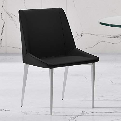 Zuri Furniture Fiora Black Leatherette Dining Chair with Brushed Stainless Steel Legs