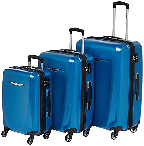 Samsonite Winfield 3 DLX Hardside Expandable Luggage with Spinners, Blue/Navy, Checked-Medium 25-Inch