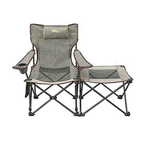 WSDSX Silla Plegable reclinable para Acampar al Aire Libre, Silla de Pesca con reposapiés, sillón reclinable Plegable con portavasos y Bolsa de Almacenamiento (Gris, Naranja) Beac