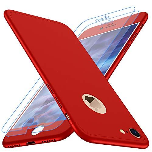 """Coque iPhone 6, Coque iPhone 6s Losvick 360 degrés avec [2-Pièces Protecteur D'écran en Verre Trempé] Housse Dur PC 3 en 1 Matte Case Anti Choc pour iPhone 6/6s - 4.7"""" - Rouge"""