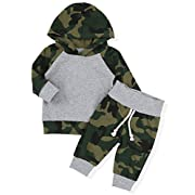 Infant Newborn Baby Boy Girls Camouflage Clothes Hooded T-Shirt Tops Outfits + Pants Sets(0-6Months)
