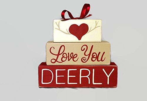 Love You Deerly Valentines Day WoodenBlock Deer Head Decor Gift Husband Wedding Decor