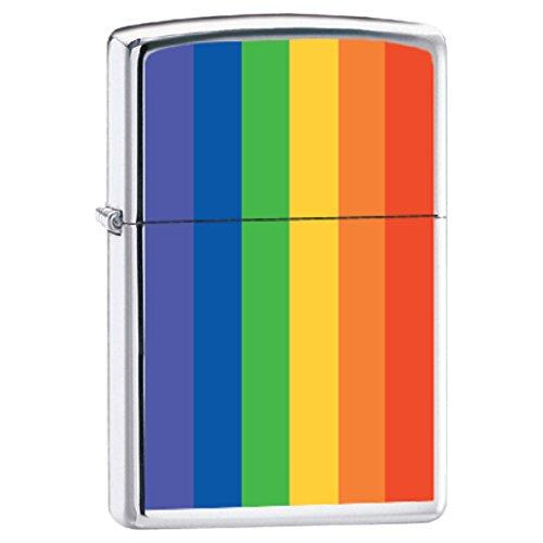 Zippo Lighter - Rainbow Flag High Polish Chrome