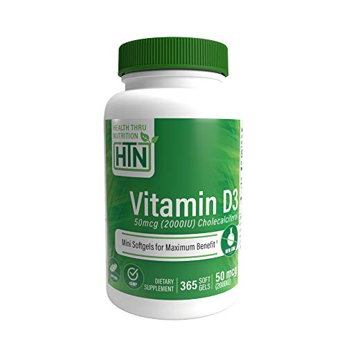 Vitamin D3 2000 IU (50 mcg), 365 Mini Softgels, Soy Free, Non-GMO, Gluten Free, Natural Vitamin D (365)